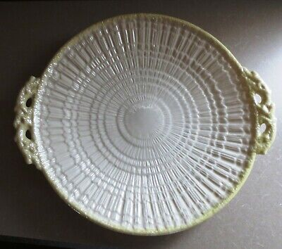 Belleek Bone China Cake Plate Platter Fermanagh Ireland Tridacna 3rd Green Mark