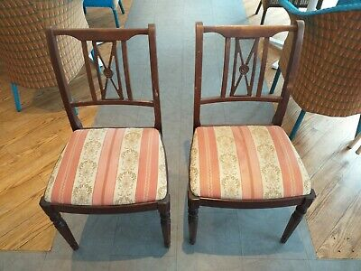 Chair chairs ANTIQUE STYLE ' regency period design' MAHOGANY PAIR lift out seats