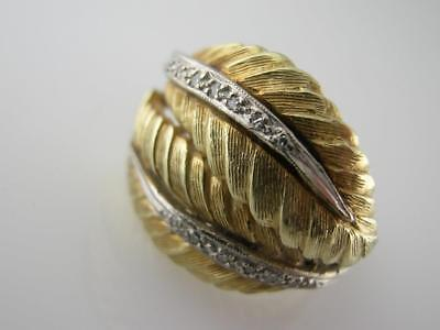 14k yellow & white Gold RING carved leaf design accented w/ tiny diamonds 8.6g