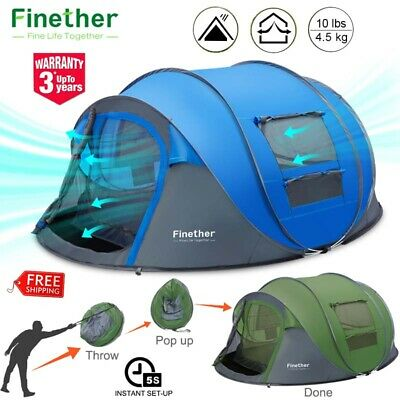5 Person Instant Pop Up Tent Outdoor Camping Family Shelter Canopy Waterproof US