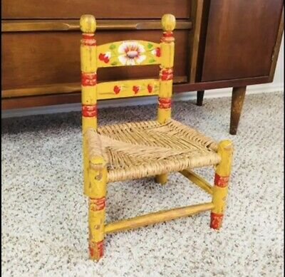 Vintage Mid Century Hand Painted Ladder Back Childrens Chair / Made In Mexico