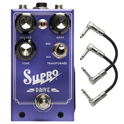 Supro Drive Overdrive True Bypass Switching Guitar Effects Pedal w/ Patch Cables