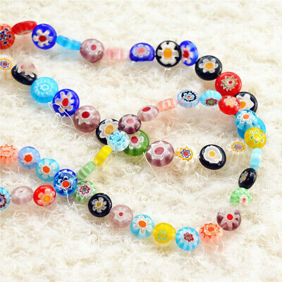 40//50//65Pcs Flower Glass Beads Oblate Millefiori Loose Spacer DIY Jewelry Gift