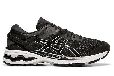 NEW ASICS MENS GEL KAYANO 26 2E Train Running Gym Shoe Black /White 1011A542 001