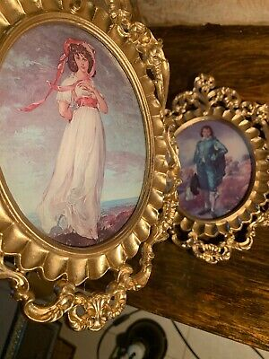 Vintage Blue Boy and Pinkie in Gold Ornate Plastic Frames with Convex Oval Glass