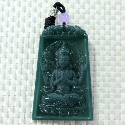 Chinese Exquisite Hand-carved Buddha Carving jadeite jade Pendant