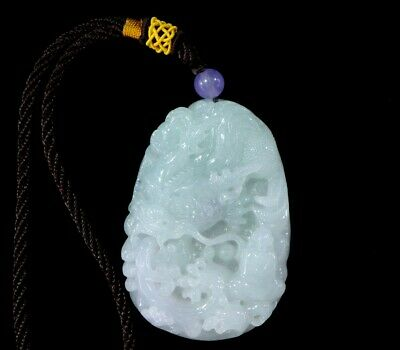 Chinese Exquisite Hand-carved Dragon Luohan Carving jadeite jade Pendant
