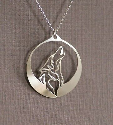 Howling Wolf Silver Necklace full moon wolves midnight lone wolf howling at moon