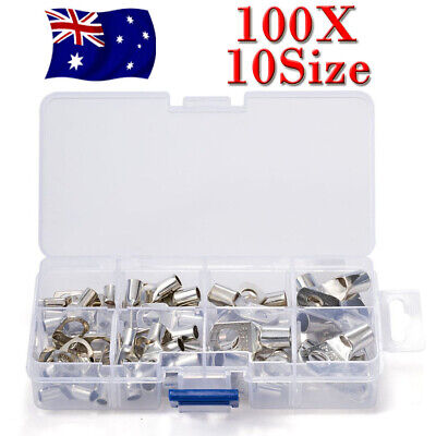 100X Copper Cable Lugs Kit 6mm 10mm 16mm 25mm 35mm Battery Terminal 4WD OZ