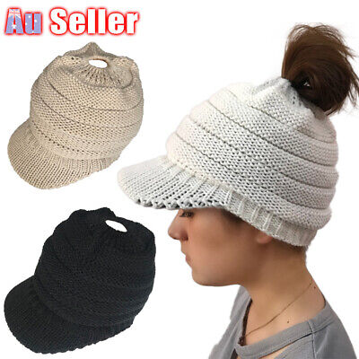 Women's Cable Ponytail Stretch Knit Winter Soft High Bun Hat Beanie Skull Cap