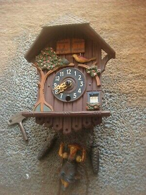 Vintage Wooden German ? Cuckoo Style Clock Swinging Girl