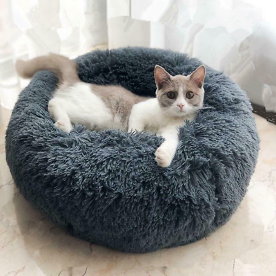 Pet Calming Bed Round Nest Faux Fur Donut Cat Dog Beds Self Warming AU
