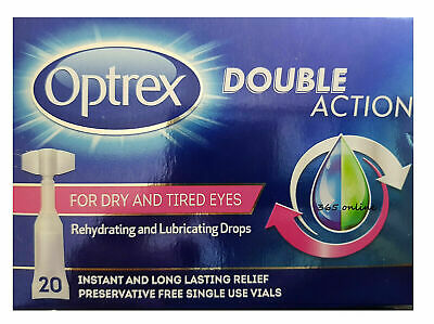 Optrex  Double Action for Dry & Tired Eyes Monodose Drop    (20 DROP VIALS)