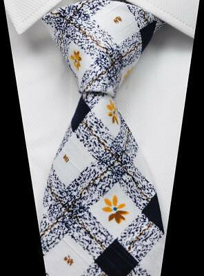 Checks Floral White Black Gold 100% Cotton Men's Tie Fashion Necktie 3.15''(8CM)
