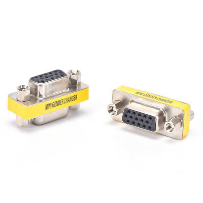 2PCS 15Pin VGA Female to Female Plug Coupler gender Changer Converter Adapter ~
