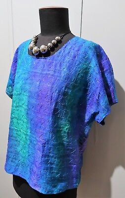 *Vintage 1980s Blue Hand Dyed Embroidered & Beaded Silk Top- 53cm Bust