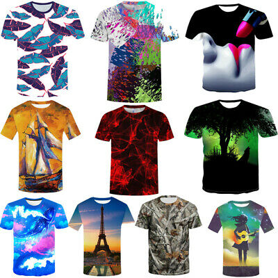3D Multi-style Summer Men's Scenery Print T-Shirt Casual Short Sleeve Tops Tee