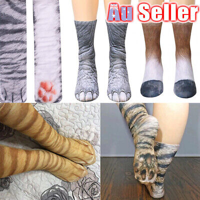 Unisex Kids 3D Printed Tube Crew Men Women Cotton Funny Animal Paw Socks Hoof