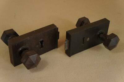 Vintage 2 x bakelite surface mounted door locks with handles - no keys or keeps