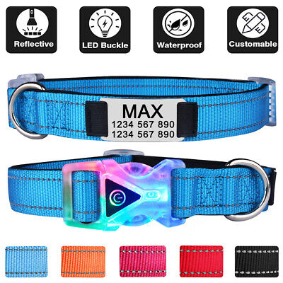 Reflective Nylon Personalised LED Dog Collar Laser Engraved Name ID Tag XS S M