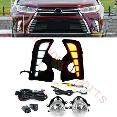 1 Set Bumper Light Fog Lamps LED Assy+Switch+Wire  For Toyota Highlander 2017-19