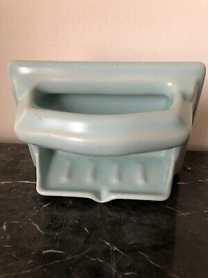 Vintage Spring Blue Ceramic Soap Dish with Grab Bar Reclaimed Salvage