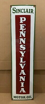 Vintage Porcelain Sinclair Pennsylvania Sign Gasoline Motor Oil Pump Dino Gas