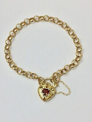 9ct Yellow Gold Curb Bracelet With Filigree Heart Padlock & Garnet Stone