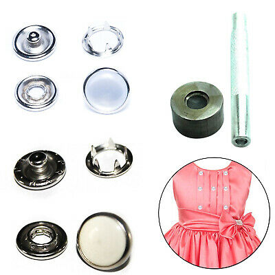 100pcs 4 Part Pearl Snap Poppers 9.5mm with Hand Tool Set for Craft Clothing DIY