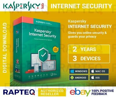 Kaspersky Internet Security 2019 3 Devices 2 years PC/Mac/Android UK VAT EMAILED