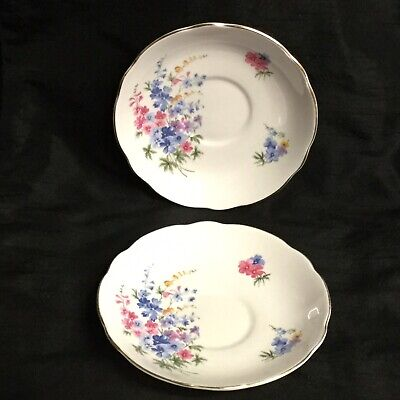 🌸A Stunning Pair Of Vintage 'Regency' English Bone China Floral Saucers (Lot 1)