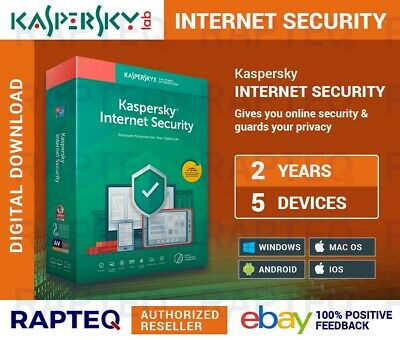 Kaspersky Internet Security 2019 5 Devices 2 years PC/Mac/Android UK VAT EMAILED