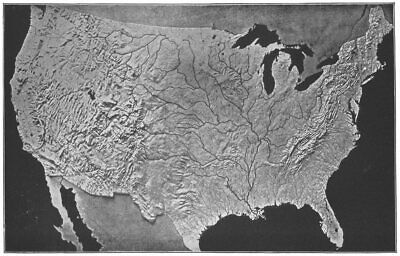 USA. Relief map US, Modeled, S Survey 1907 old antique vintage print picture