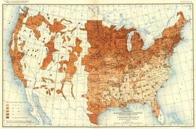 USA. % whites Foreign parentage total population US 12th census  1900 old map