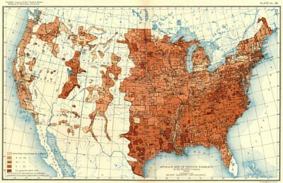 USA. Average size of private families at 12th census  1900 old antique map