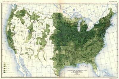 USA. Proportion of improved land to total area at 12th census  1900 old map
