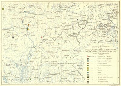 USA. Agriculture. Map center farms, farm products, population 12th census  1900