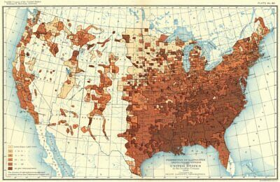 USA. % Illiterates among negro voters US 12th census  1900 old antique map