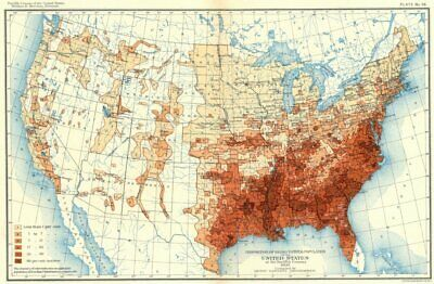USA. Proportion of Negro to total population US at 12th Census  1900 old map