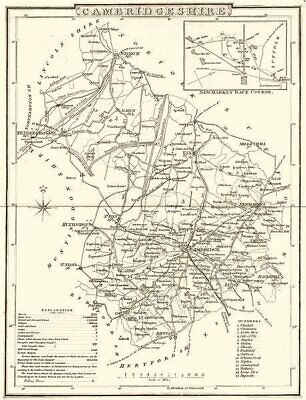 CAMBRIDGESHIRE. County map. Polling places. Coach roads. DUGDALE 1845 old