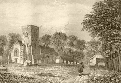LONDON. Willesden church, Middlesex. DUGDALE 1845 old antique print picture