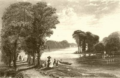 LONDON. Near Hampton, Middlesex. DUGDALE 1845 old antique print picture