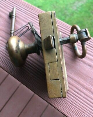 Antique Brass Door Knob Lock And Key In Good Vintage Condition