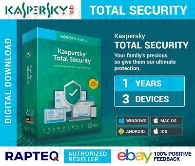 Kaspersky Total Security 3 Devices 1 year Mac/PC/Android VAT EMAILED UK (2019)