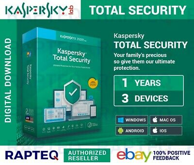 Kaspersky Total Security 3 Devices 1 year PC/Mac/Android VAT EMAILED UK (2019)