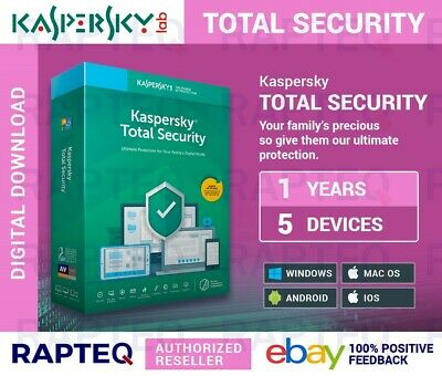 Kaspersky Total Security 2019 5 Devices 1 year MAC/PC/Android UK VAT EMAILED