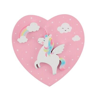 Rainbow Unicorn Jewellery Box Pink Wooden Heart Trinket Girl Gift Accessories