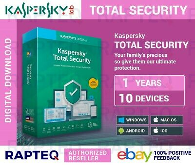 Kaspersky Total Security 2019 10 Devices 1 year PC/Mac/Android UK VAT EMAILED