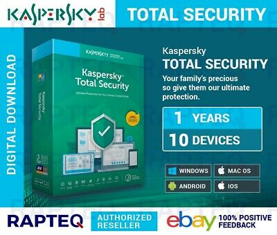Kaspersky Total Security 2019 10 Devices 1 year MAC/PC/Android UK VAT EMAILED