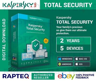 Kaspersky Total Security 2019 5 Devices 2 years Android/PC/Mac UK VAT EMAILED